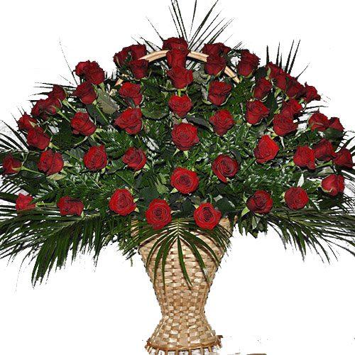 фото товара Живые похоронные цветы красные розы